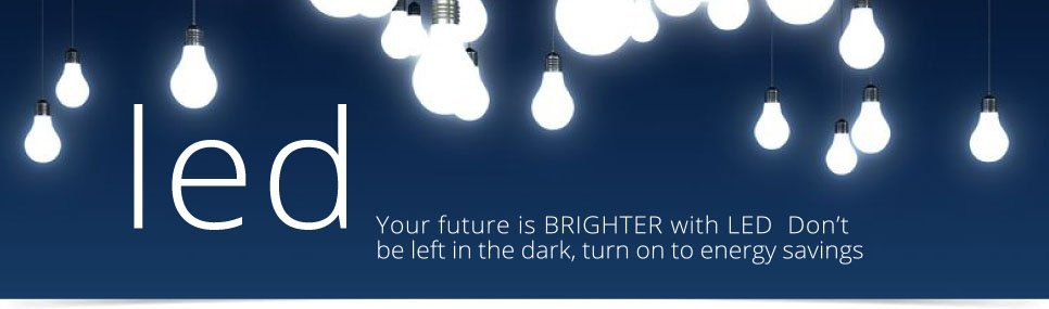 Banner showing lightbulbs to illustrate L.E.D. lighting from Energy Gain UK