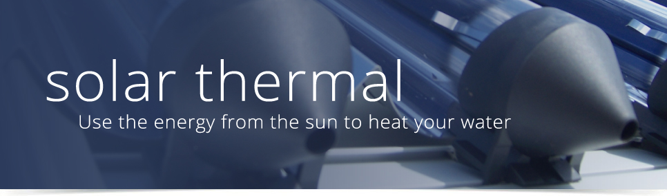 banner illustrating solar thermal panels - using the sun to heat your water