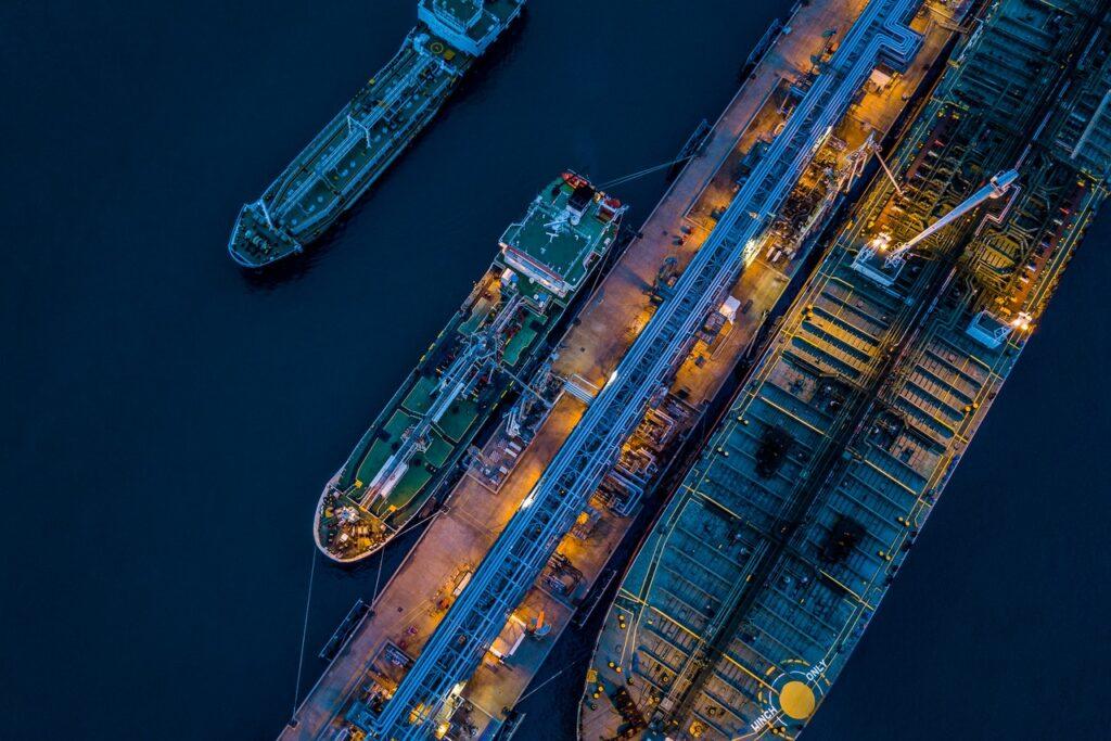 A fleet of oil sea tankers